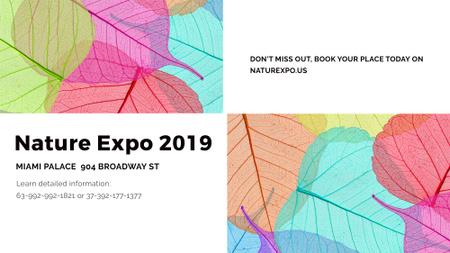 Plantilla de diseño de Nature Expo announcement with colorful leaves FB event cover