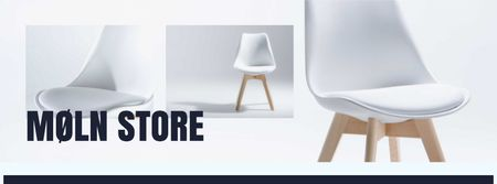 Furniture Store Offer with white minimalistic Chair Facebook cover Modelo de Design