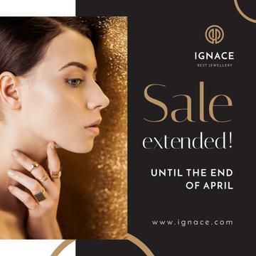 Jewelry Sale Woman in Golden Rings