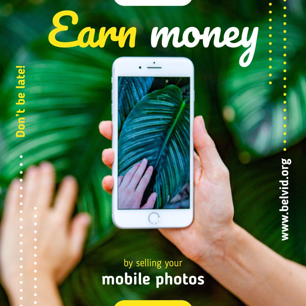 Mobile Photography Hand and Green Leaf on Screen | Instagram Post Template — Crear un diseño