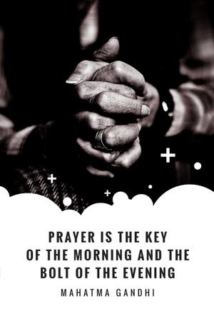 Faith Quote with Hands Clasped in Prayer Pinterest Tasarım Şablonu