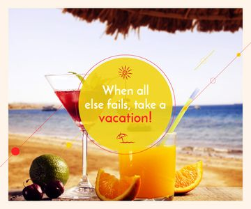 Vacation Offer Cocktail at the Beach | Large Rectangle Template