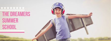 Ontwerpsjabloon van Facebook Video cover van Boy playing pretending plane