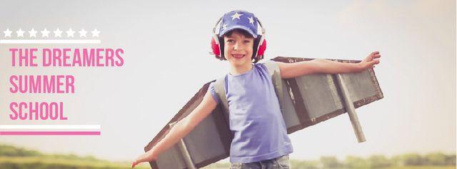 Boy playing pretending plane Facebook Video cover Tasarım Şablonu