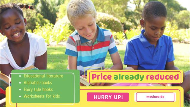 School Supplies Sale with Happy Kids Reading Full HD video Design Template