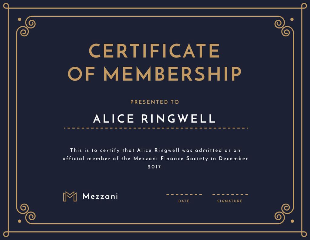 Finance Society Membership confirmation in blue — ein Design erstellen