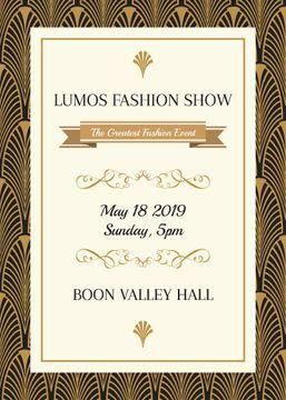 Fashion Show invitation Golden Art Deco pattern
