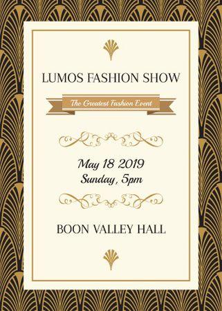 Fashion Show invitation Golden Art Deco pattern Flayer Design Template