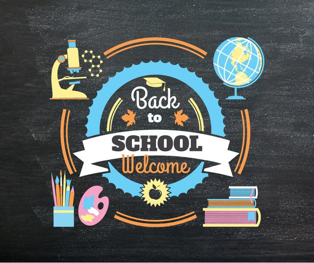 Back to Schools education and sciences icons Facebook Modelo de Design