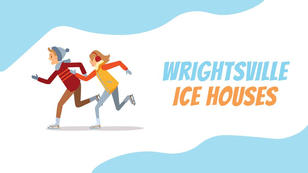 Ice Rink Ad Woman and Man Speed Skating | Full Hd Video Template — Maak een ontwerp