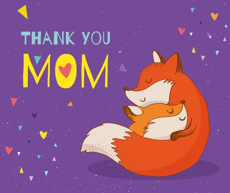 Fox hugging kid on Mother's Day Facebook – шаблон для дизайна