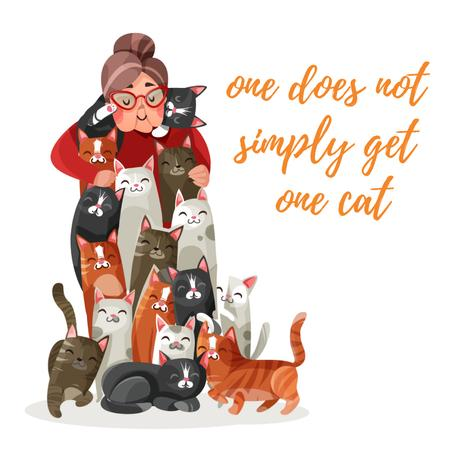 Old lady hugging bunch of cats Animated Post Modelo de Design