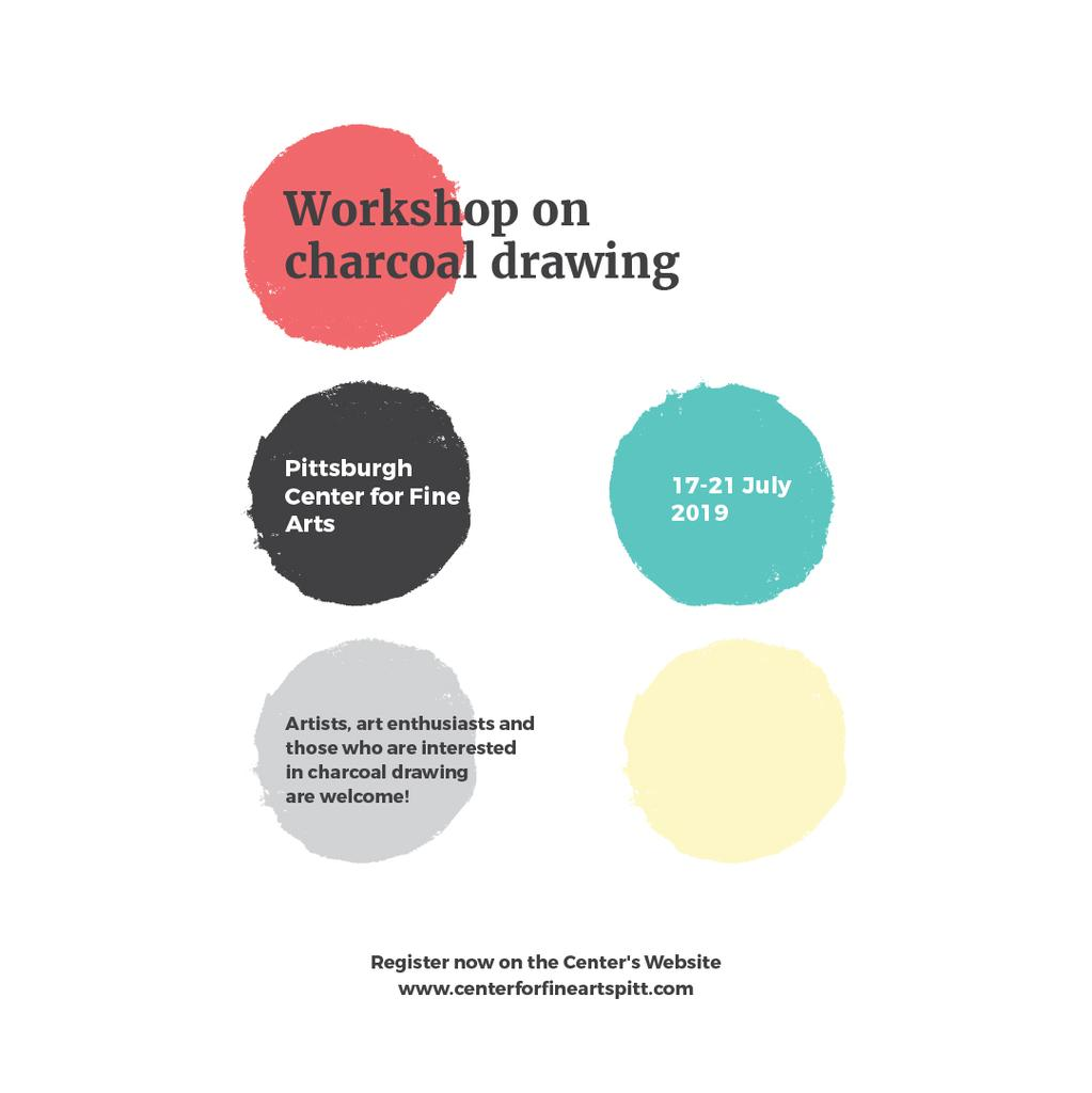 Charcoal Drawing Workshop colorful spots — Modelo de projeto
