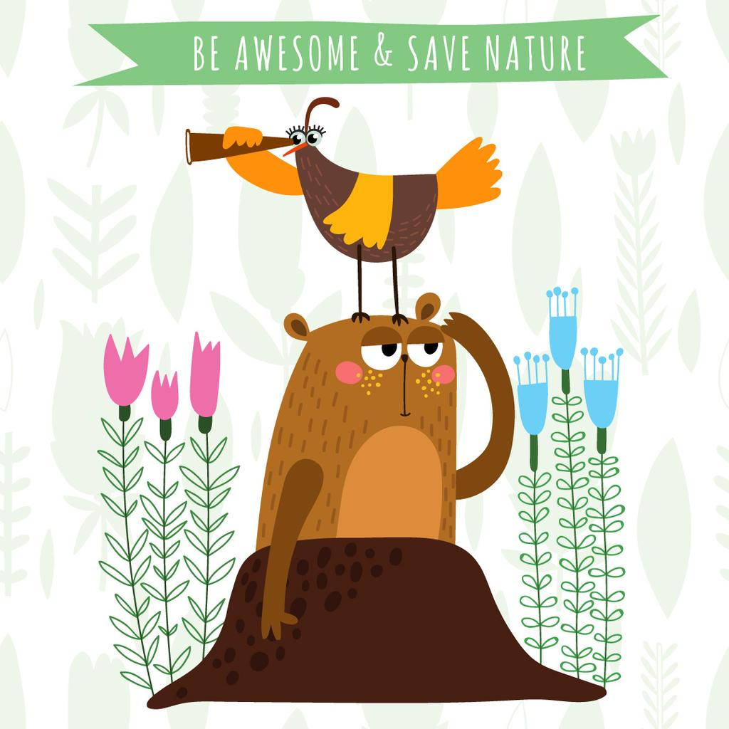 Ontwerpsjabloon van Instagram AD van Funny Animals exploring Nature