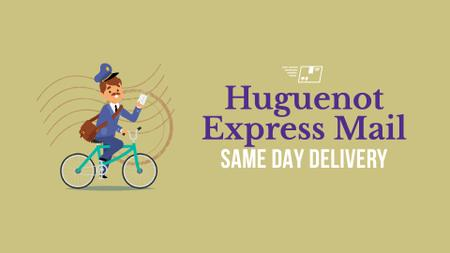 Template di design Delivery Service Mailman with Letter on Bicycle Full HD video