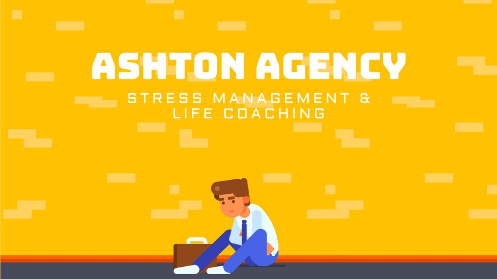 Stressed Upset Businessman by Yellow Wall — Crear un diseño