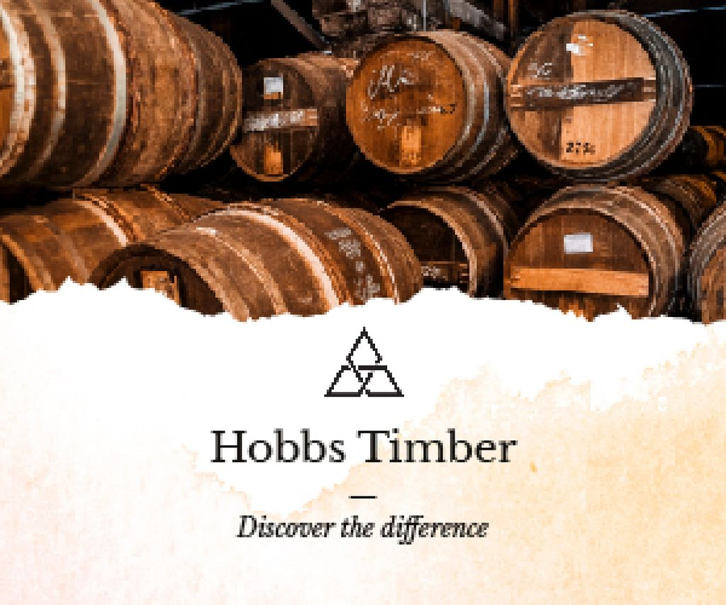 Timber Ad Wooden Barrels in Cellar — Crear un diseño