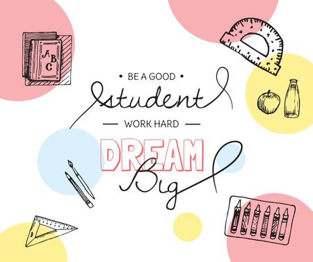 Plantilla de diseño de Education Quote and Stationery sketches Facebook