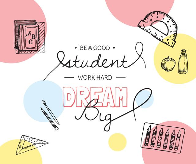 Education Quote and Stationery sketches Facebookデザインテンプレート
