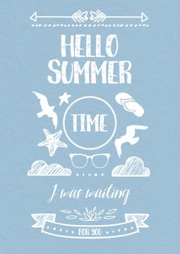 Hello summer Quote on Blue