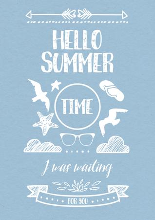 Hello summer Quote on Blue Poster Tasarım Şablonu