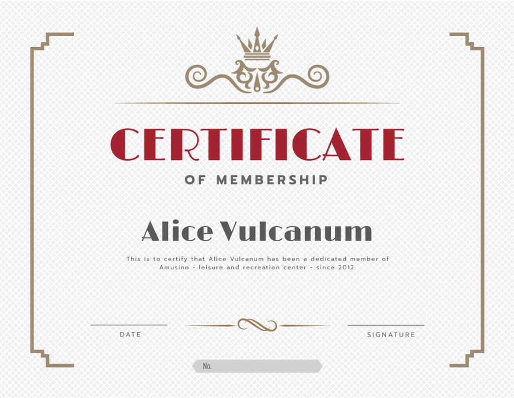 Leisure Center Membership confirmation in vintage frame — Create a Design