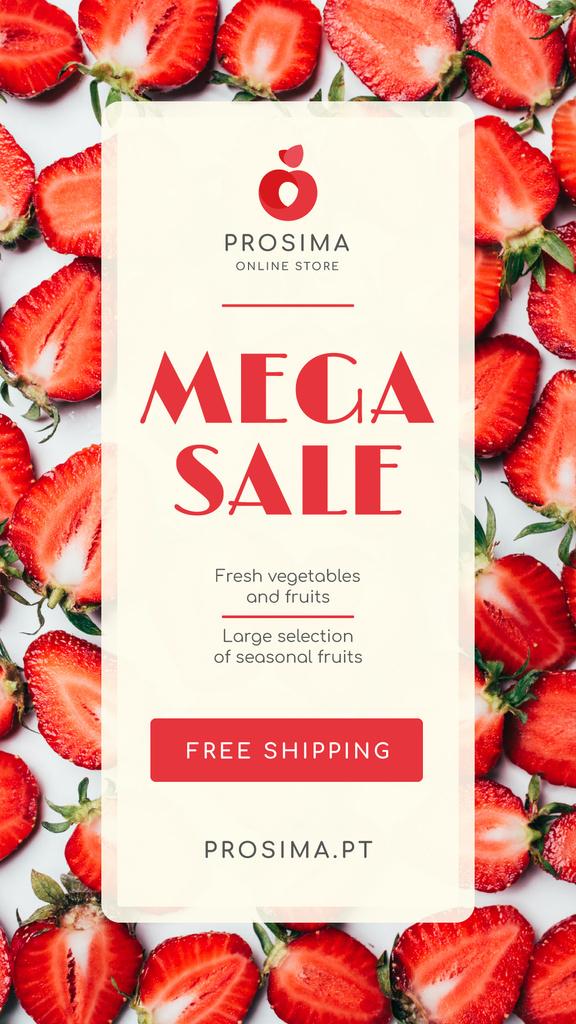 Groceries Store Sale Ripe Red Strawberries — Створити дизайн