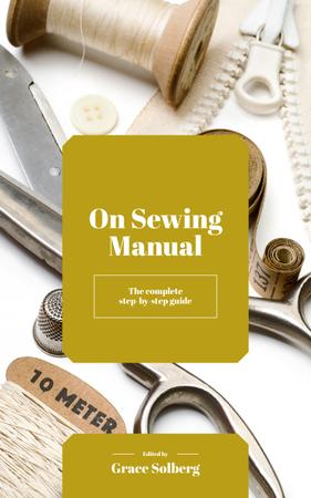Sewing Manual Tools and Threads in White Book Cover Design Template