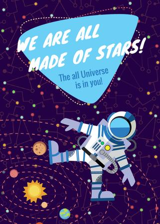 Template di design Inspiration Quote with Astronaut in space Flayer