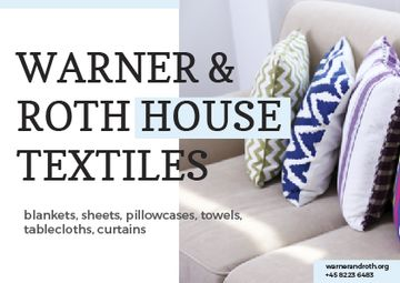 Textile Offer with Pillows on Sofa