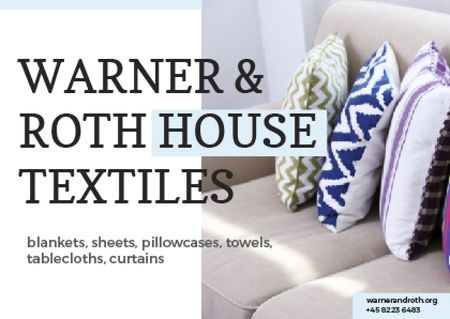 Textile Offer with Pillows on Sofa Card – шаблон для дизайну