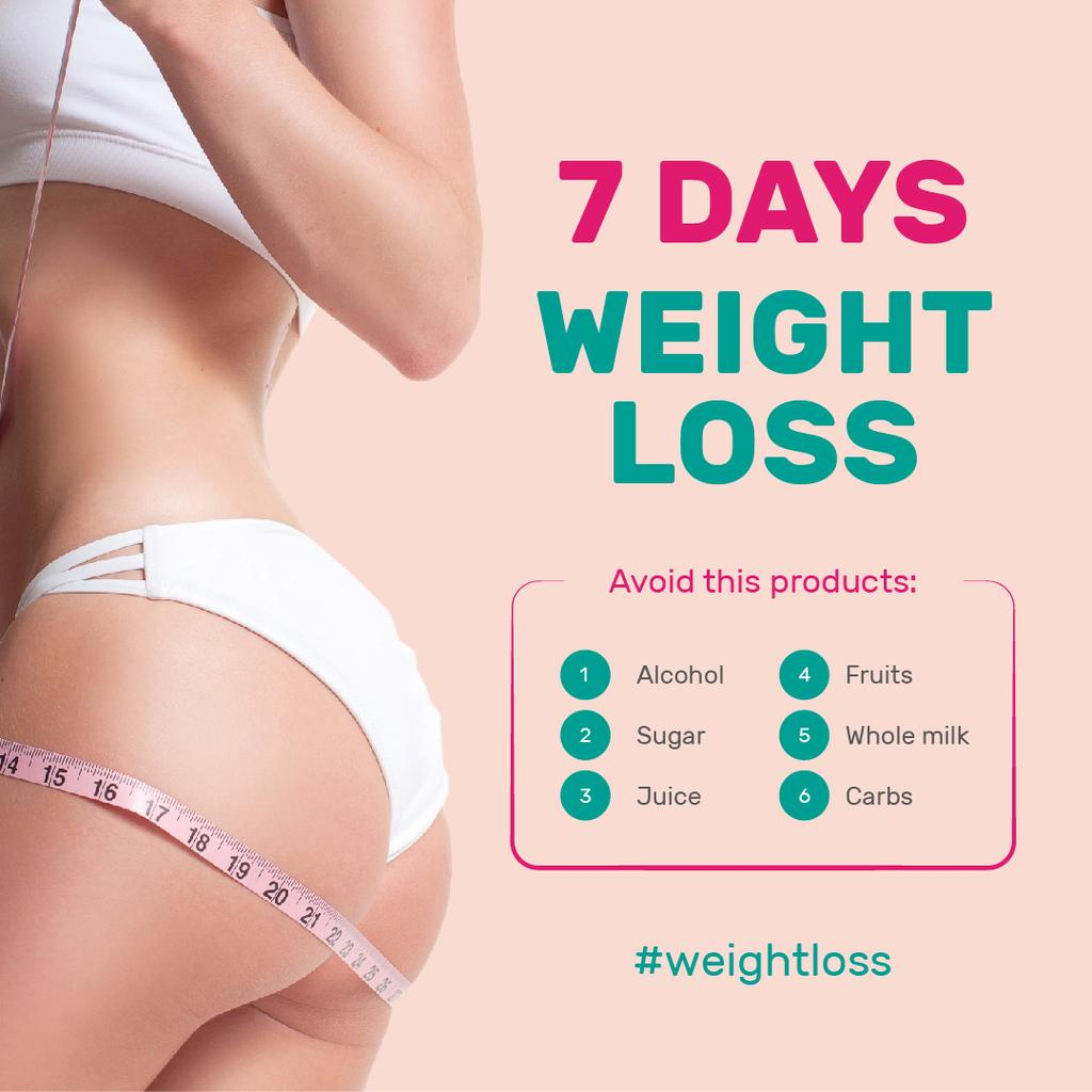 Weight Loss Program Ad with Slim Female Body | Instagram Post Template — Crear un diseño