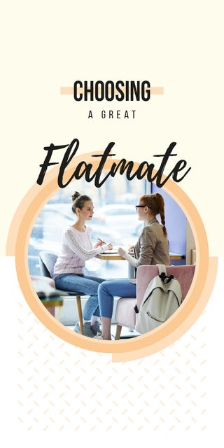 Women flatmates drinking coffee at cafe Graphic Modelo de Design