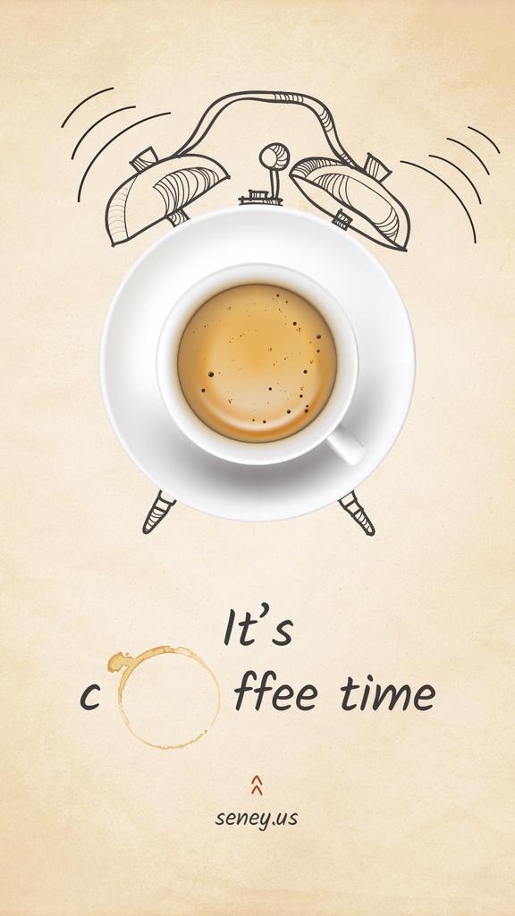 Cup of coffee with alarm clock — Crea un design