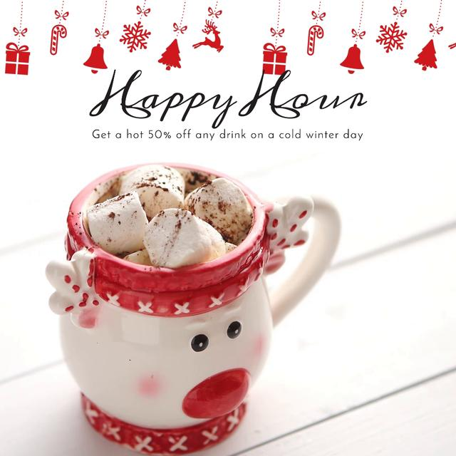 Designvorlage Winter Holidays Offer with Cocoa and Marshmallow für Animated Post