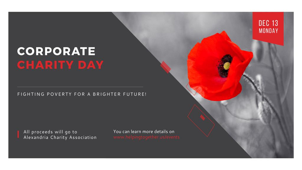 Corporate Charity Day announcement on red Poppy — Create a Design