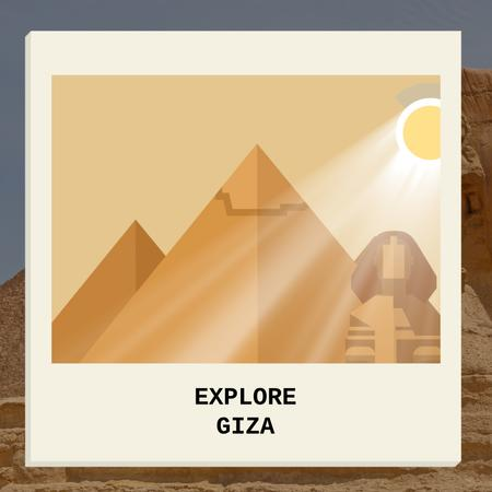 Ontwerpsjabloon van Animated Post van Giza Pyramids and Sphinx