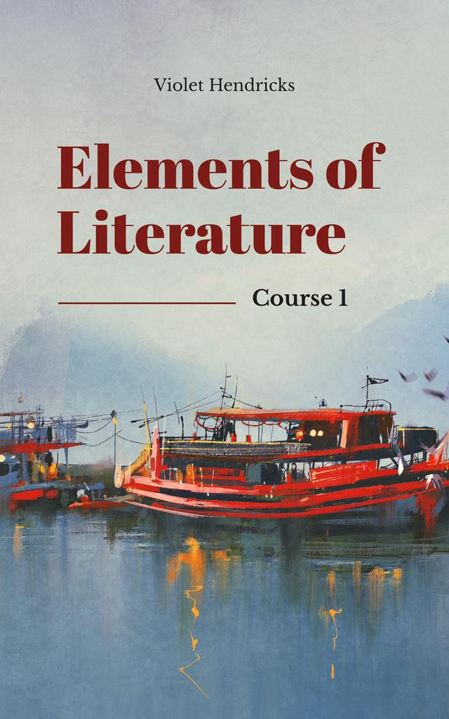 Literature Inspiration Red Boats in Harbor Book Cover – шаблон для дизайну