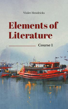 Literature Inspiration Red Boats in Harbor Book Cover – шаблон для дизайна
