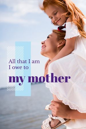 Happy Mother with Daughter Tumblr Modelo de Design