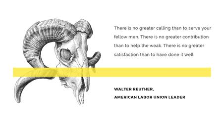 Volunteer Work Quote with animal Skull Title Modelo de Design