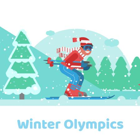 Skier on a snowy slope Animated Post Modelo de Design