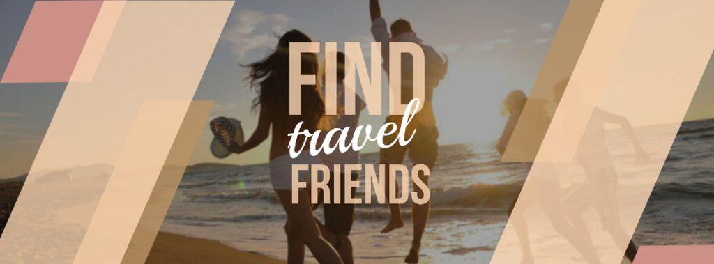 Plantilla de diseño de Travel motivational Quote with people running on sandy beach Facebook cover