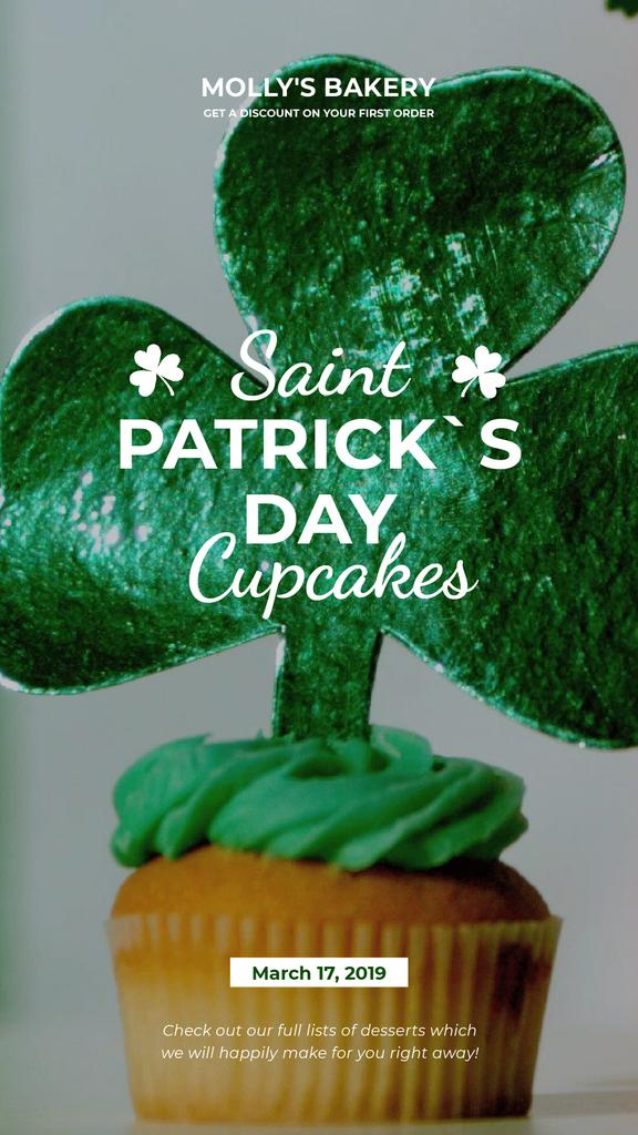 Saint Patrick's Day Cupcake with Shamrock | Vertical Video Template — Створити дизайн