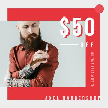 Barbershop Offer Bearded Barber Holding Razor | Instagram Ad Template