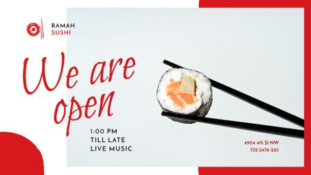 Restaurant promotion with Asian Sushi dish FB event cover Modelo de Design