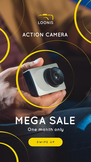Plantilla de diseño de Photography Equipment Offer Hand with Action Camera Instagram Story