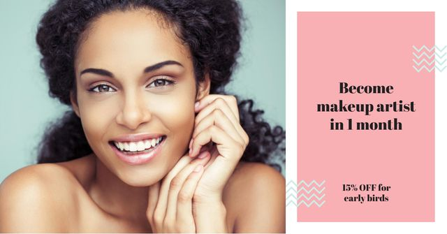 Beauty Quote with smiling Woman with glowing Skin Facebook AD Design Template