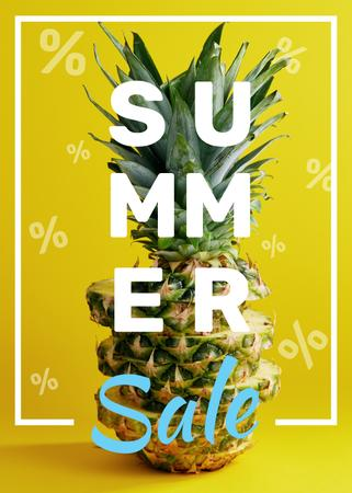 Summer Sale Tropical Pineapple in Yellow Flayerデザインテンプレート