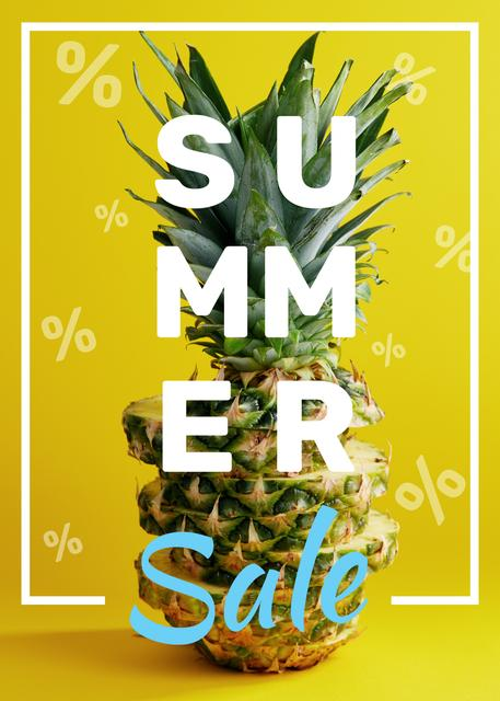 Template di design Summer Sale Tropical Pineapple in Yellow Flayer